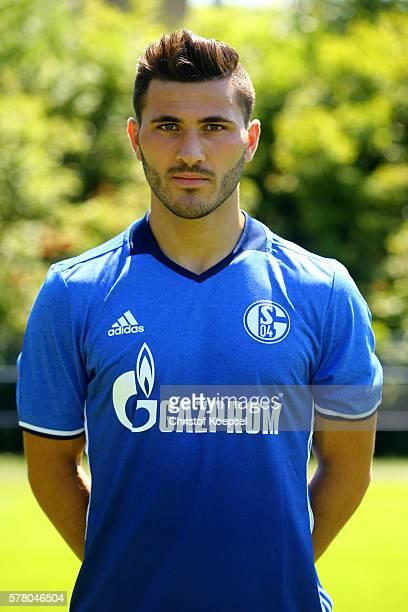 Sead Kolasinac poses during the team presentation of FC Schalke at Veltins Arena on July 20 2016 in Gelsenkirchen Germany
