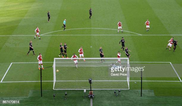 Sead Kolasinac scores Arsenal's 1st goal during the Premier League match between Arsenal and Swansea City at Emirates Stadium on October 28 2017 in...