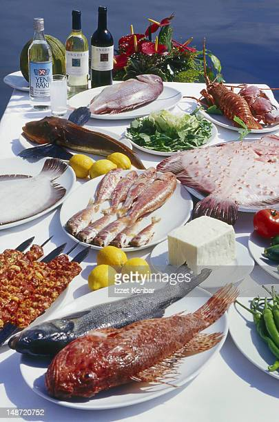 Seafood and meze, typical Istanbul dish.