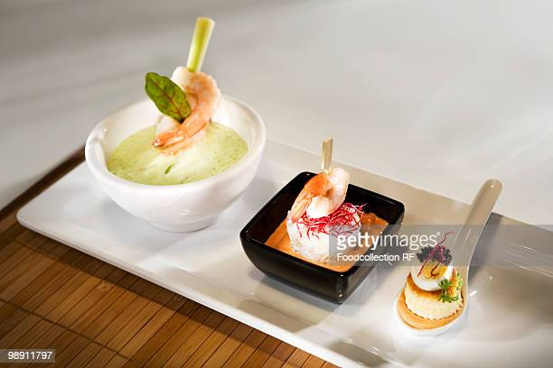Seafood appetisers, close-up, elevated view