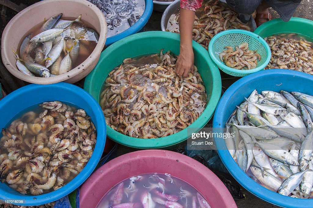 Seafood, Central Market, Phnom Penh : Stock Photo