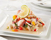 A typical seafood raw fish ceviche from Peru