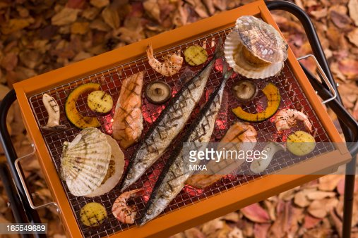 Seafood Grilled on Barbecue Grill in Autumn