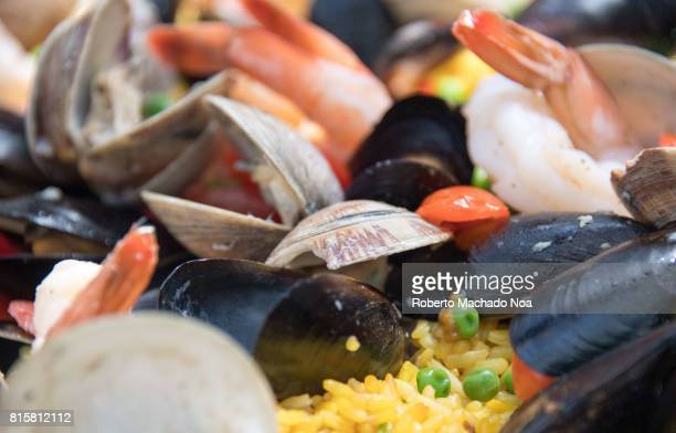 Seafood paella food cooked the Miami style Seafood paella replaces meat with seafood All paella variations come from the original Valencian Paella