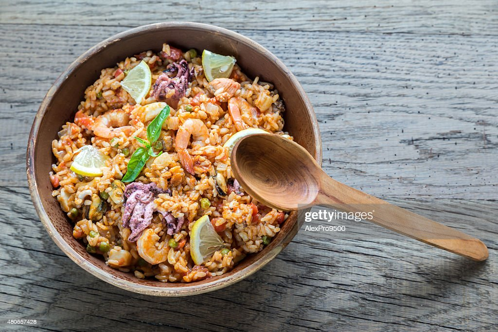 Seafood paella : Stock Photo