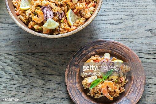 Seafood paella : Stock Photo