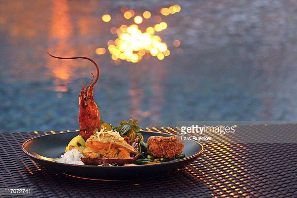 Seafood platter at sunset