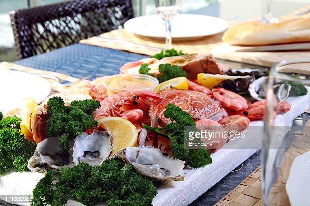 Seafood platter with prawns and sand crab