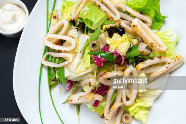 Seafood salad with noodles and lettuce