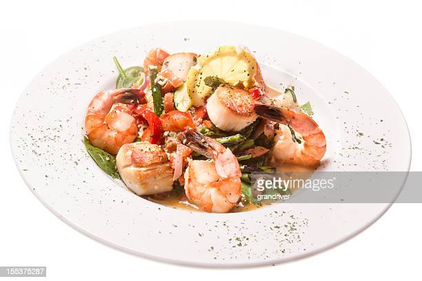 Seafood Scampi isolated on White