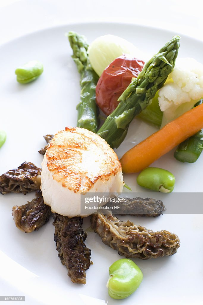 Seafood served on plate : Stock Photo