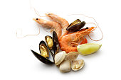 Seafood: Shrimps, Prawn, Mussels and Clams Isolated on White Background