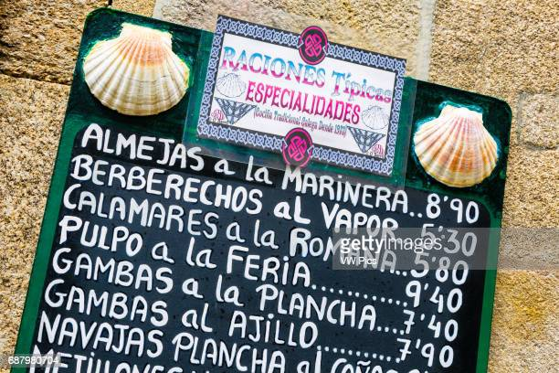 Seafood signal Santiago de Compostela La Coru–a Galicia Spain Europe Santiago de Compostela the final destination of the Way of StJames Here you can...