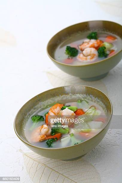 Seafood Soup With Shrimps and Broccoli