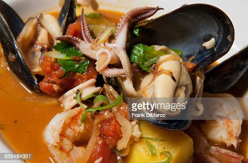 Seafood stew in a bowl