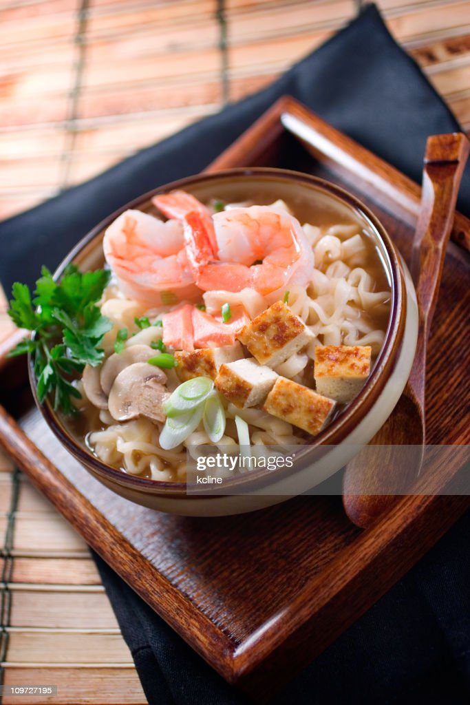 Seafood Udon with Shrimp : Stock Photo