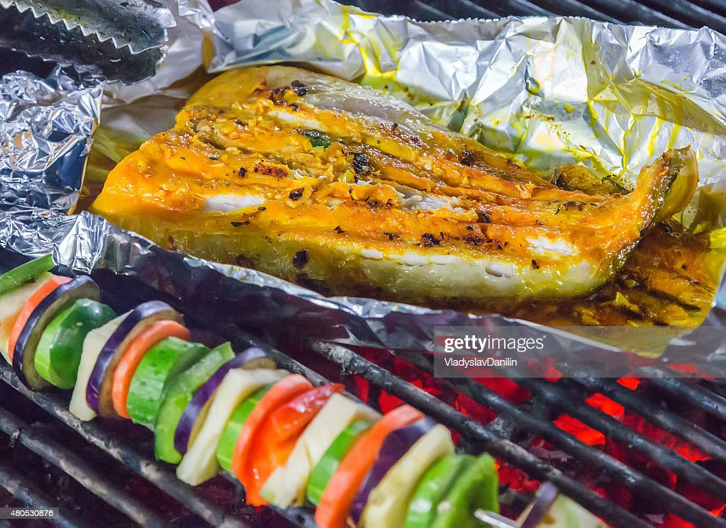 seafood vegetable Barbecue : Stock Photo