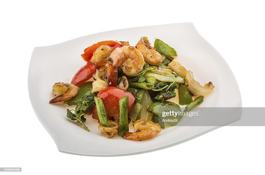 Seafood with vegetables : Stock Photo