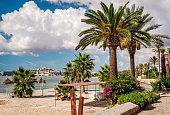Seafront promenade of Ibiza. Balearic Islands. Spain