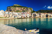 amazing sea-front view of old small town Cefalu in Sicily, Italy