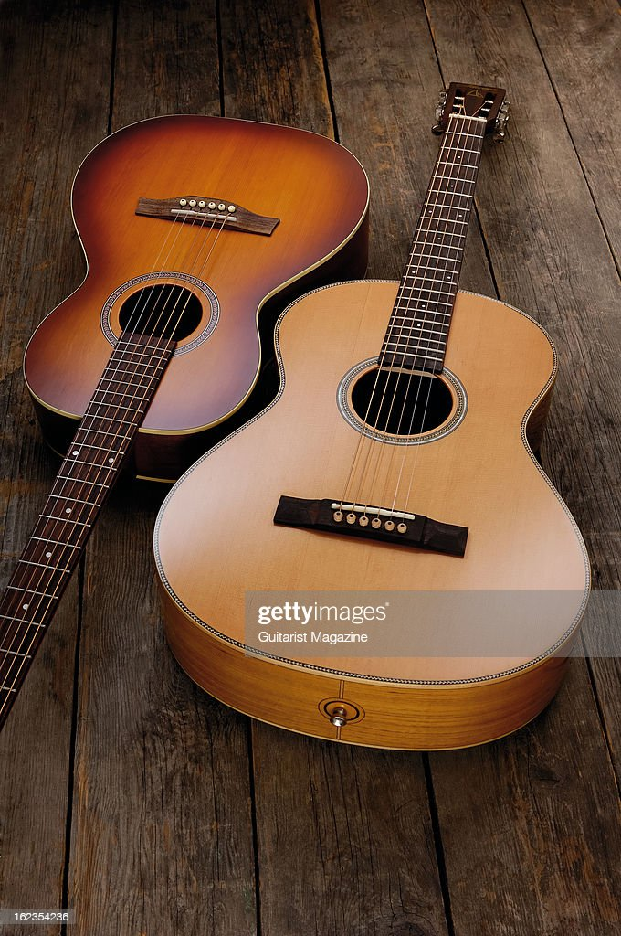 Seagull Entourage Grand Rustic (L) and Mariner Capstan acoustic guitars photographed during a studio shoot for Guitarist Magazine, July 25, 2012.