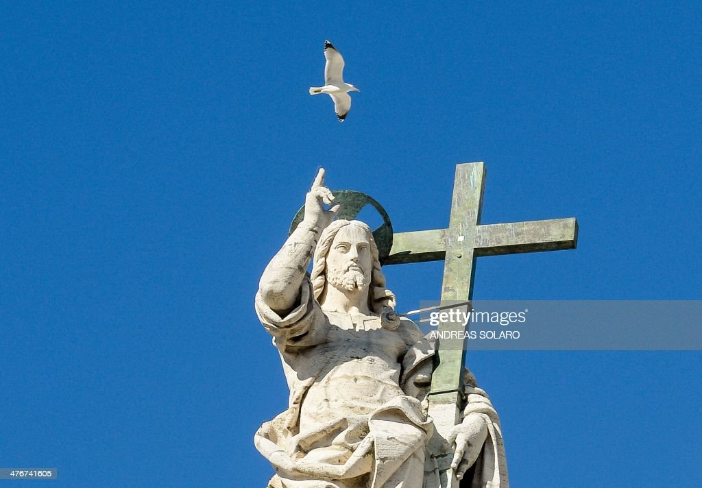 A seagull flies over a statue of Jesus on the top of St. Peter''s Basilica as Pope Pope Francis (unseen) delivers a speech during his weekly general audience in St.Peter's square at Vatican, on March 5, 2014. Pope Francis has defended the Catholic Church's record on tackling the sexual abuse of children by priests, saying 'no-one else has done more' to root out paedophilia.