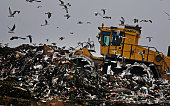 Seagulls fly around as a bulldozer compacts freshly dumped rubbish at a landfill site on November 18 2009 in Gloucester England As world leaders...