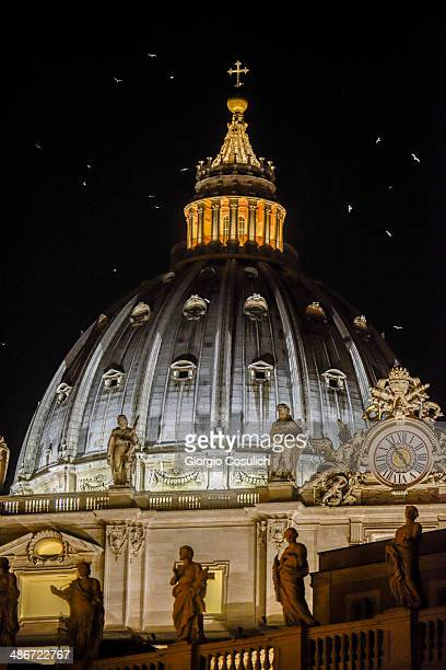 Seagulls fly around the dome of the Basilica of Saint Peter on April 25 2014 in Vatican City Vatican The late Popes John Paul II and John XXIII will...
