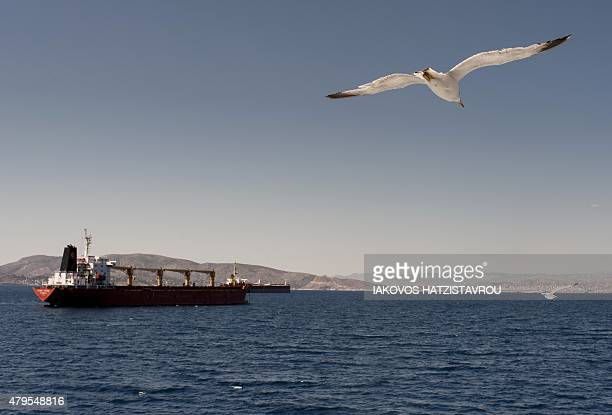 Seagulls fly over the sea on July 5 2015 in Aegina AFP PHOTO / IAKOVOS HATZISTAVROU