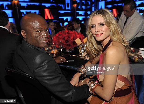 Seal and Heidi Klum attend the InStyle and Warner Bros 68th annual Golden Globe awards postparty at The Beverly Hilton hotel on January 16 2011 in...