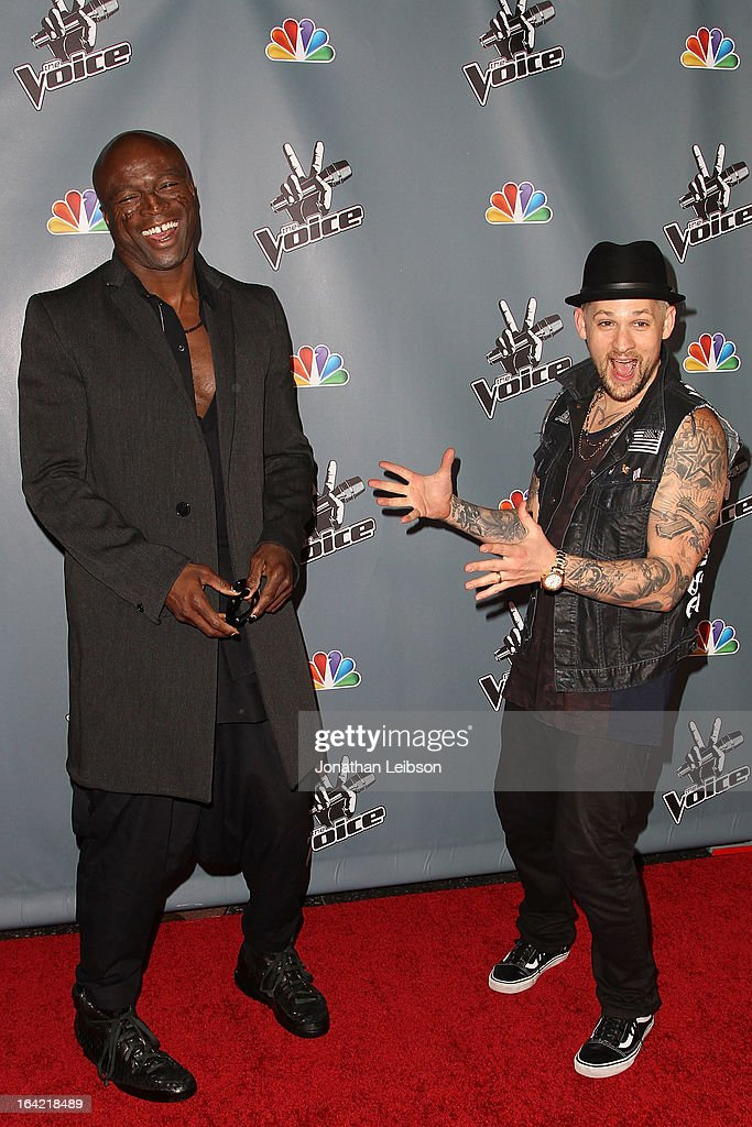 Seal and <a gi-track='captionPersonalityLinkClicked' href=/galleries/search?phrase=Joel+Madden&family=editorial&specificpeople=202933 ng-click='$event.stopPropagation()'>Joel Madden</a> attend the NBC's 'The Voice' Season 4 Premiere at TCL Chinese Theatre on March 20, 2013 in Hollywood, California.