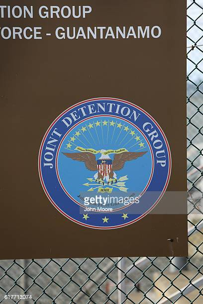 A seal marks the entrance of the prison at Guantanamo Bay also known as 'Gitmo' on October 22 2016 at the US Naval Station at Guantanamo Bay Cuba The...