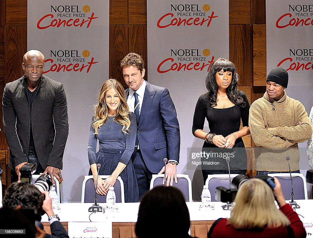 Seal, Sarah Jessica Parker, Gerard Butler, Jennifer Hudson and Ne-Yo at the press conference ahead of the 2012 Nobel Peace Prize at Radisson Blu Plaza Hotel on December 11, 2012 in Oslo, Norway.