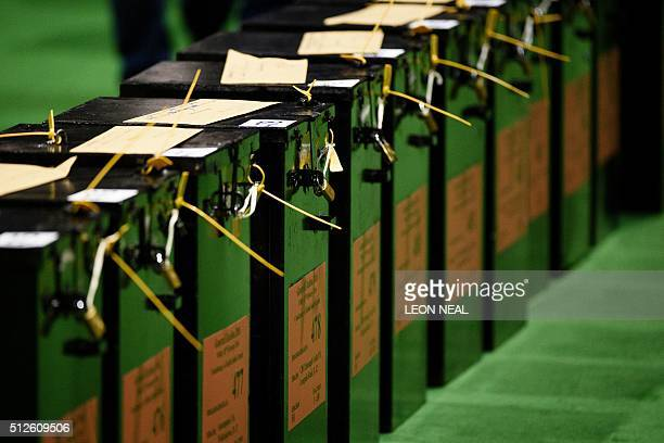 Sealed ballot boxes wait to be opened as the count gets under way at the RDS centre in Dublin Ireland on February 27 2016 the day after the vote took...
