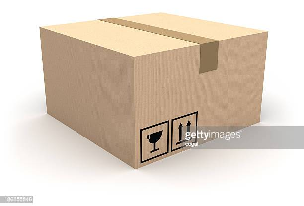 Sealed cardboard box with fragile sign