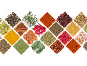 Seamless horizontal pattern with various spices and seasonings
