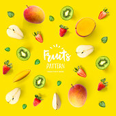 fruits on yellow background.
