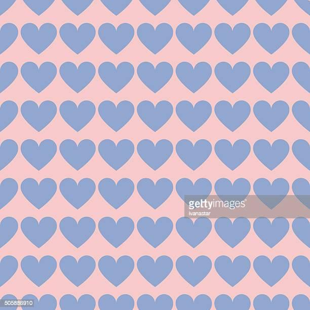 Nahtlose Rosenquartz und Blau Serenity Valentinstag Herz Muster