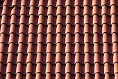 Seamless texture of red shingles. Horizontal view