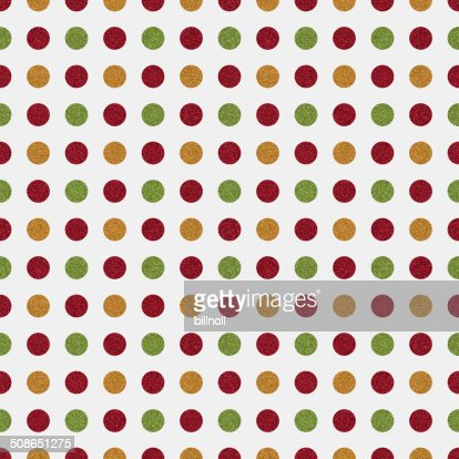 Seamless white paper with red, green and gold glitter dots : Stock Photo