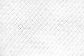Close up pattern of white woven rattan backgrounds