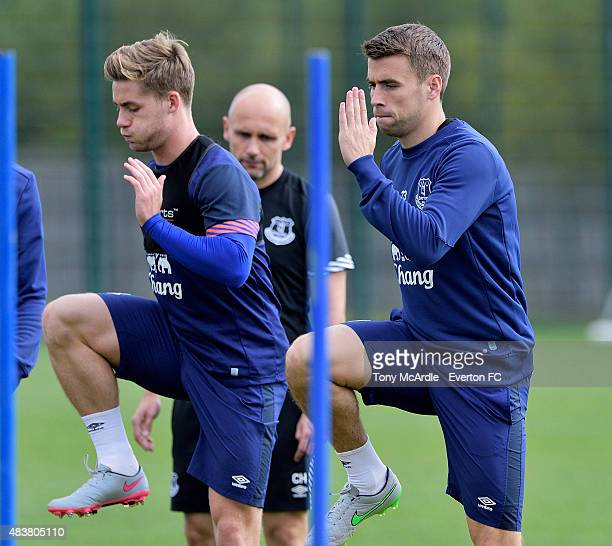 Seamus Coleman and Conor McAleny during the Everton training session at Finch Farm on August 13 2015 in Halewood England