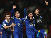 Seamus Coleman Bryan Oviedo and Kevin Mirallas of Everton celebrate after the Barclays Premier League match between Manchester United and Everton at...
