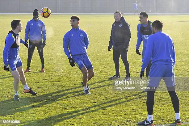 Seamus Coleman Idrissa Gueye Mason Holgate Ronald Koeman Ramiro Funes Mori and Ashley Williams during the Everton FC training session at Finch Farm...