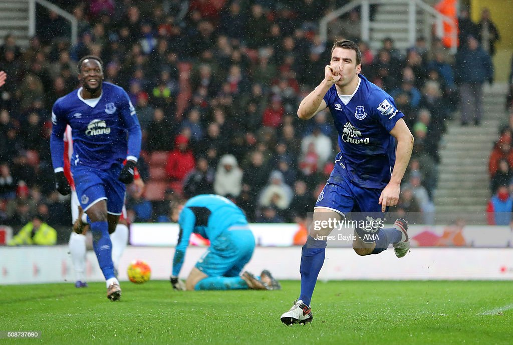 Seamus Coleman of Everton celebrates after scoring a goal to make it 0-2 during the Barclays Premier League match between Stoke City and Everton at the Britannia Stadium on February 06, 2016 in Stoke-on-Trent, England.