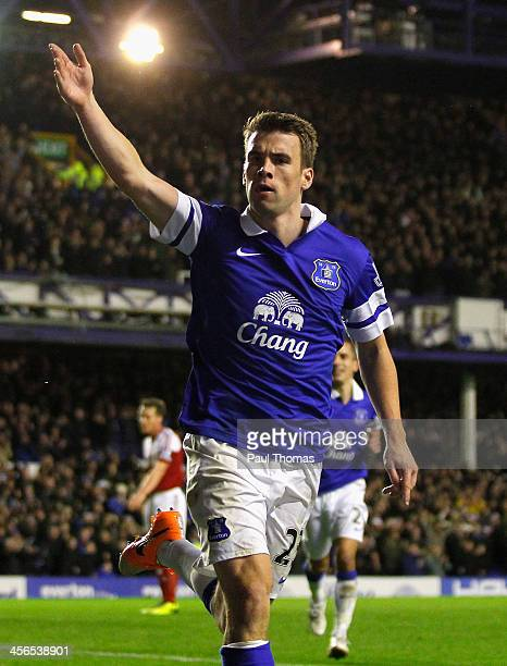 Seamus Coleman of Everton celebrates after scoring his team's second goal during the Barclays Premier League match between Everton and Fulham at...