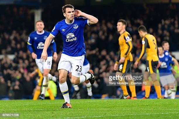 Seamus Coleman of Everton celebrates his goal during the Barclays Premier League match between Everton and Arsenal at Goodison Park on December 13...