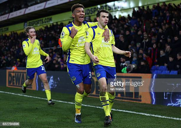 Seamus Coleman of Everton celebrates scoring his sides first goal with Mason Holgate of Everton during the Premier League match between Crystal...