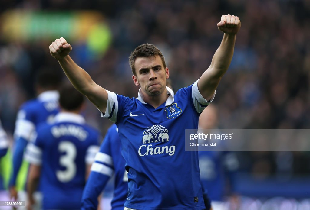 Seamus Coleman of Everton celebrates scoring the winning goal during the Barclays Premier League match between Everton and Cardiff City at Goodison Park on March 15, 2014 in Liverpool, England.
