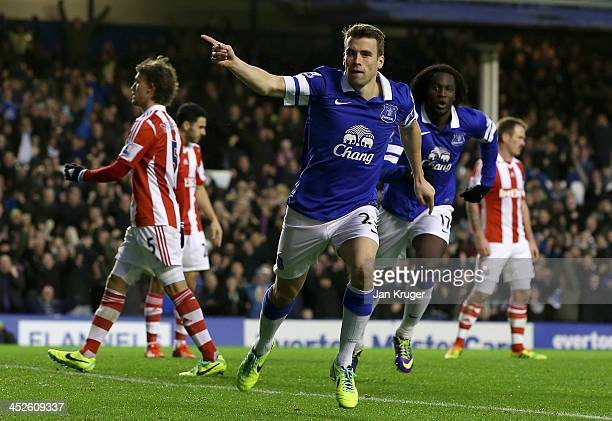 Seamus Coleman of Everton celebrates the second goal the Barclays Premier League match between Everton and Stoke City at Goodison Park on November 30...